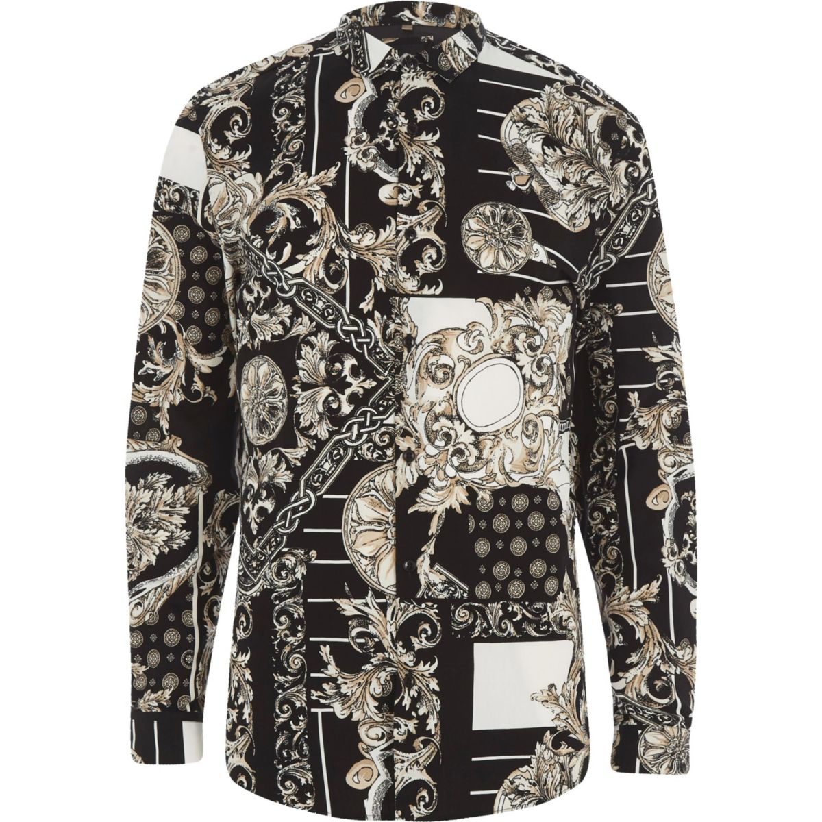 mixed baroque slim shirt fit print Black FOdxqw8fPF