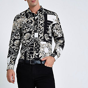 Black mixed baroque print slim fit shirt