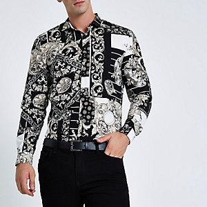 Zwart slim-fit overhemd met verschillende barokprints