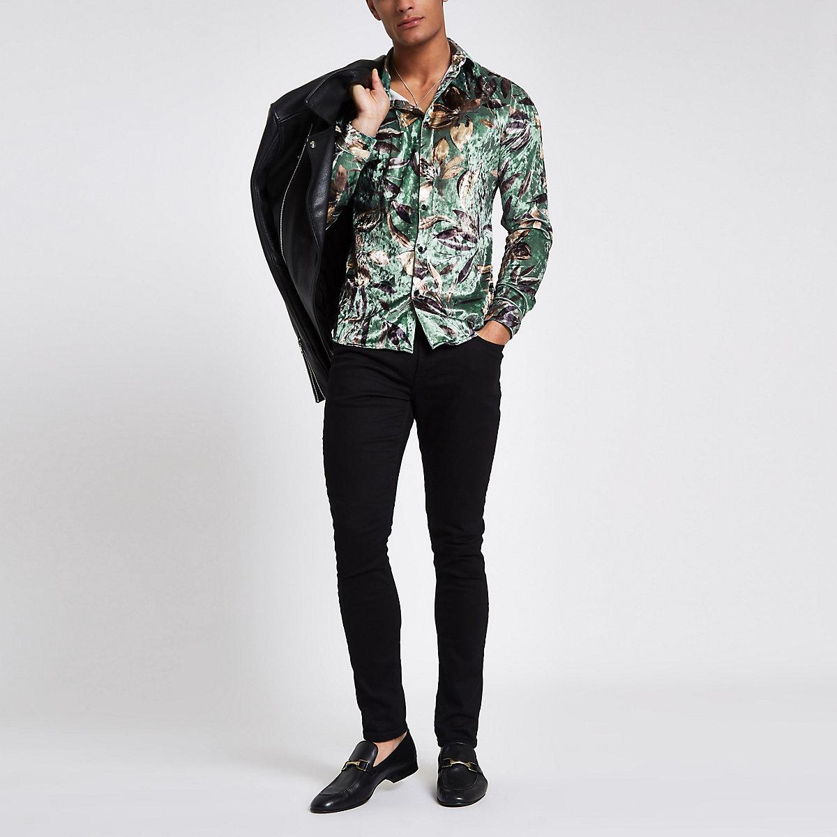 Green floral print velvet button-down shirt