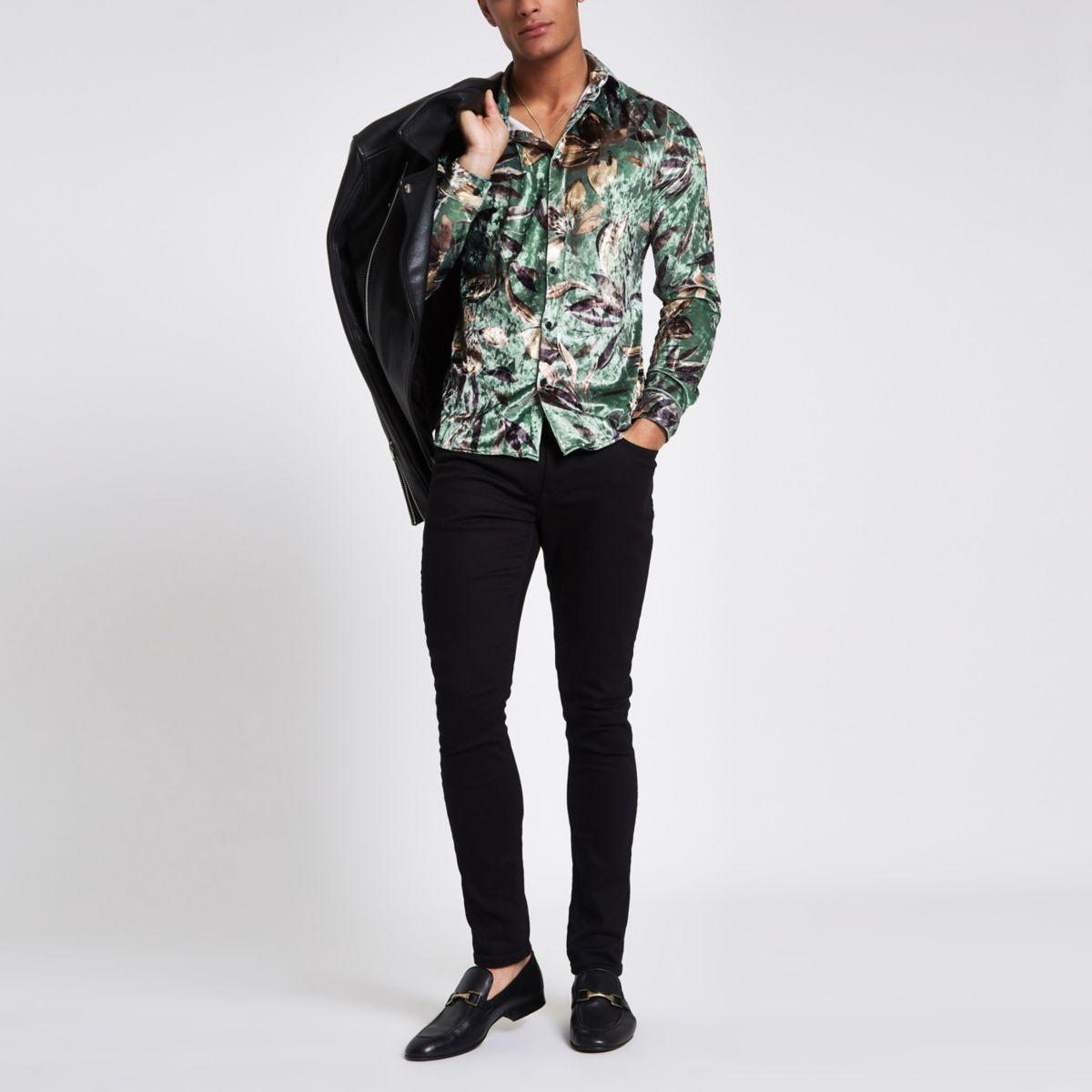 Green floral print velvet button-up shirt