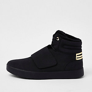 Black fleece lined high top sneakers