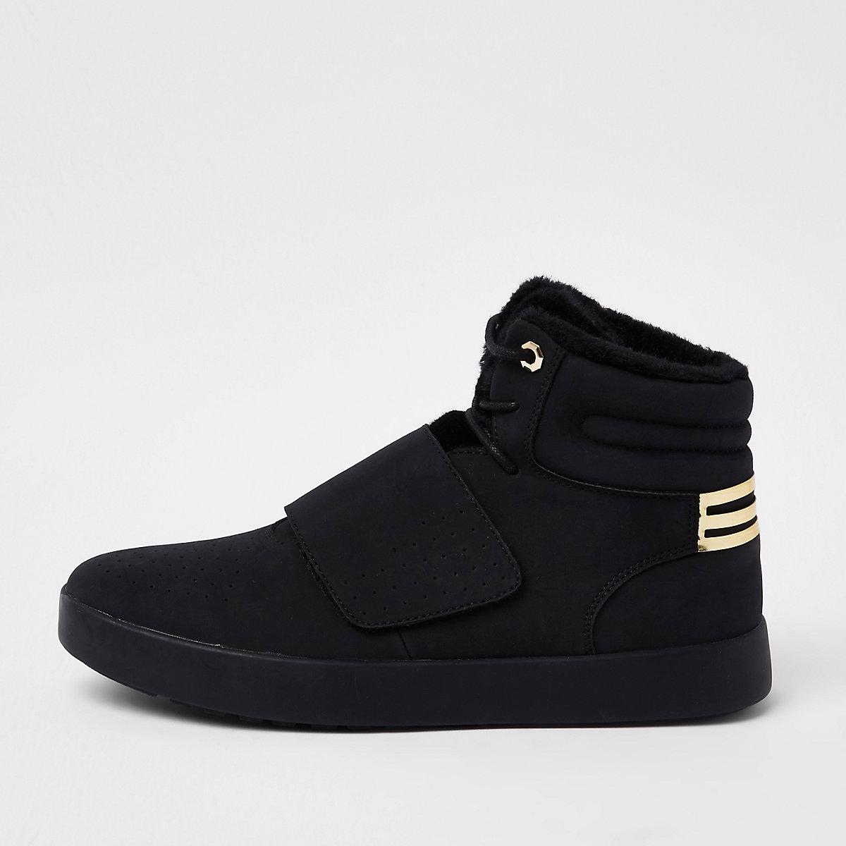 Black fleece lined high top sneakers