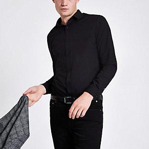 Zwart poplin slim-fit overhemd met lange mouwen