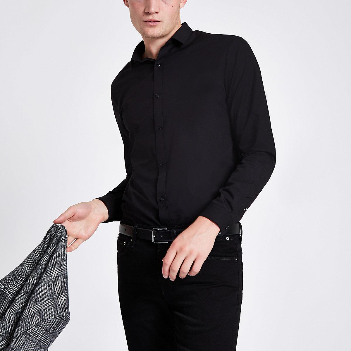 Black poplin long sleeve slim fit shirt