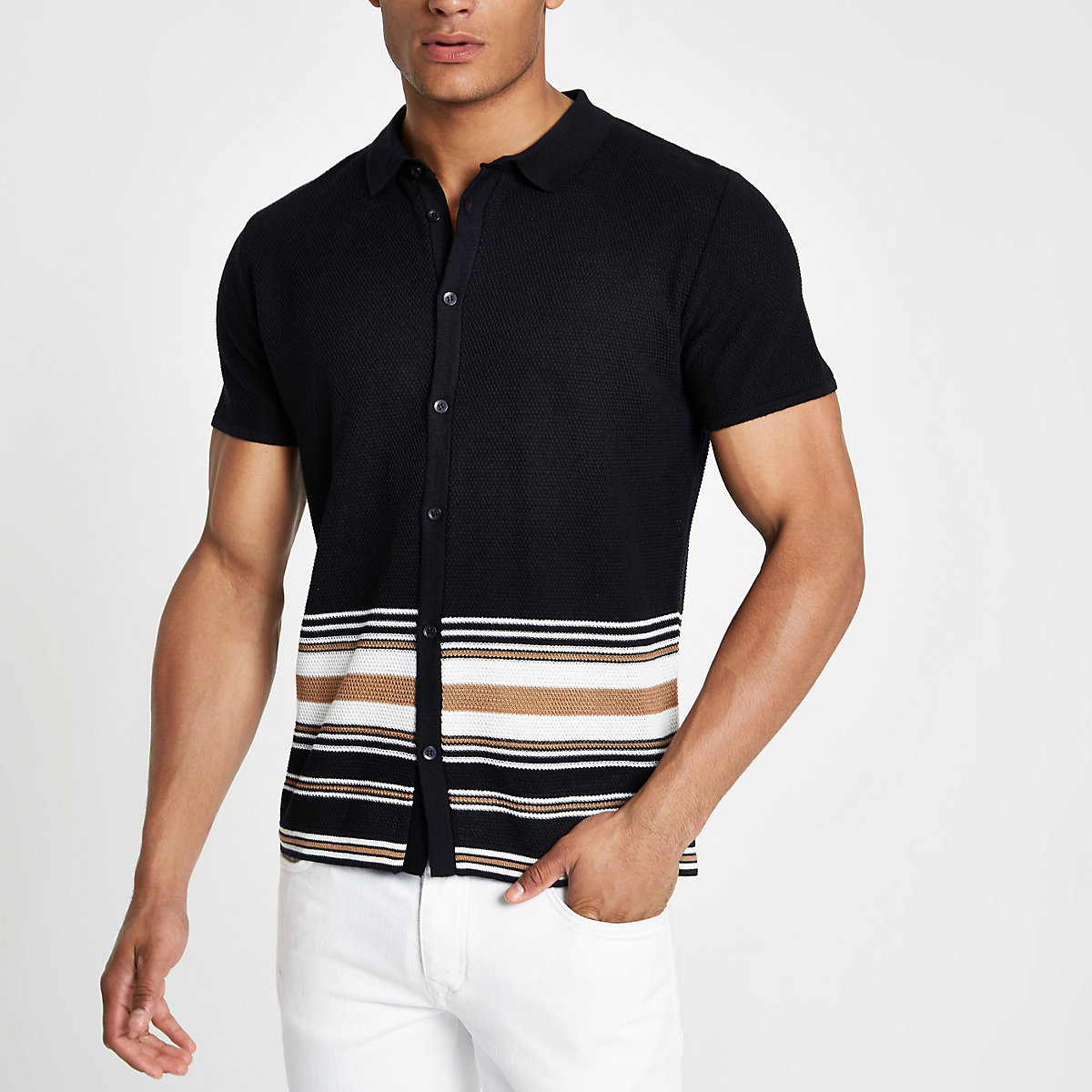 Navy stripe button through polo shirt