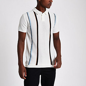 Ecru slim fit stripe polo shirt