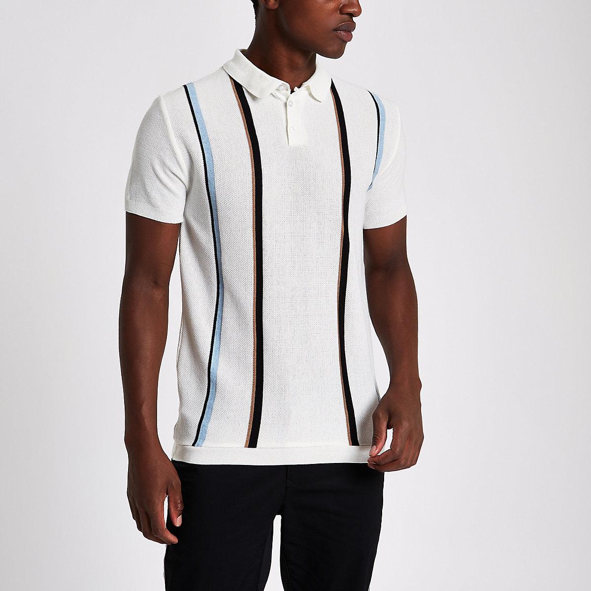 Ecru slim fit stripe polo shirt