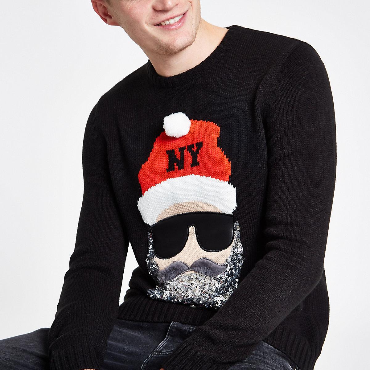 Black sequin Santa face Christmas sweater