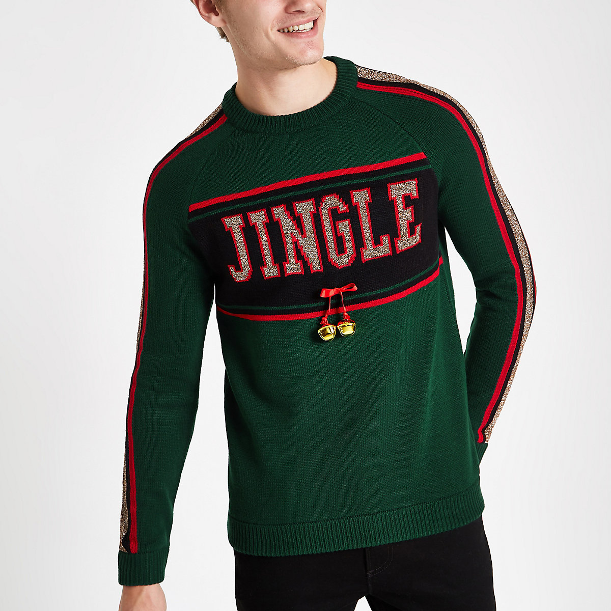 Green jingle bells Christmas jumper