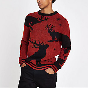 Pull de Noël motif renne en maille bouclée rouge