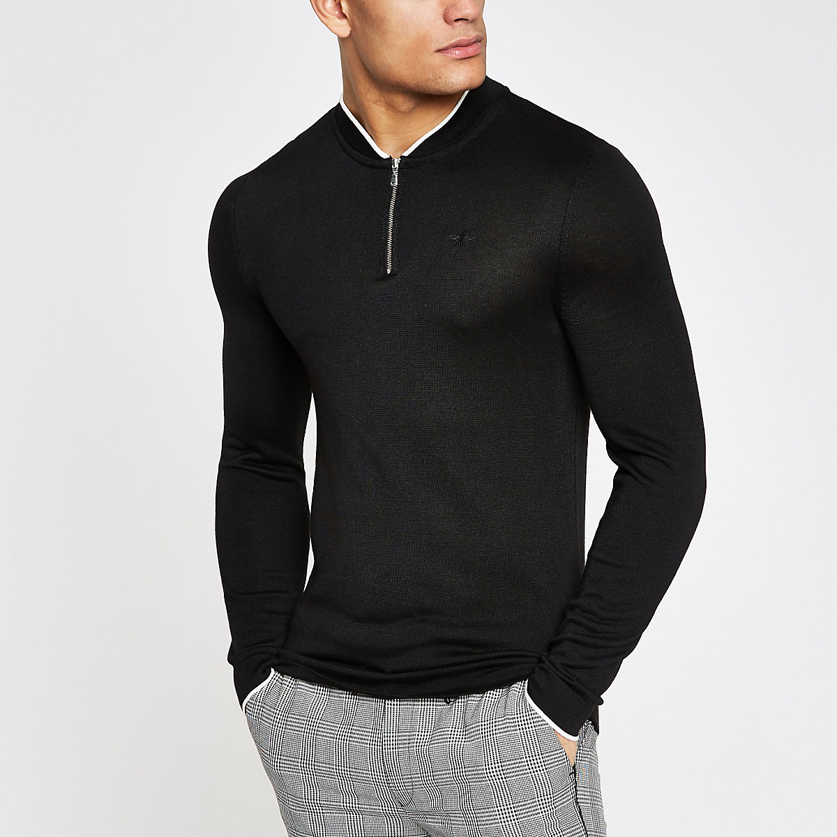 Black muscle fit zip front bomber neck sweater