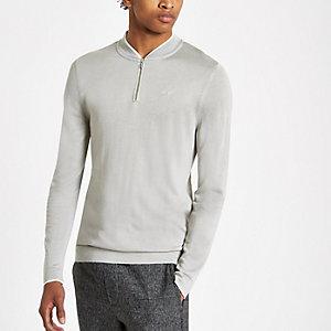 Grey muscle fit zip baseball top