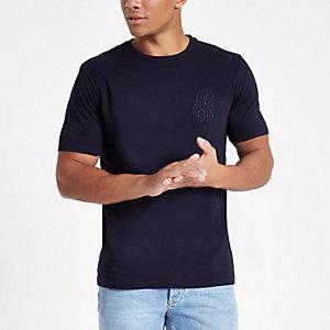 Marineblauw slim-fit T-shirt met borduursel en ronde hals
