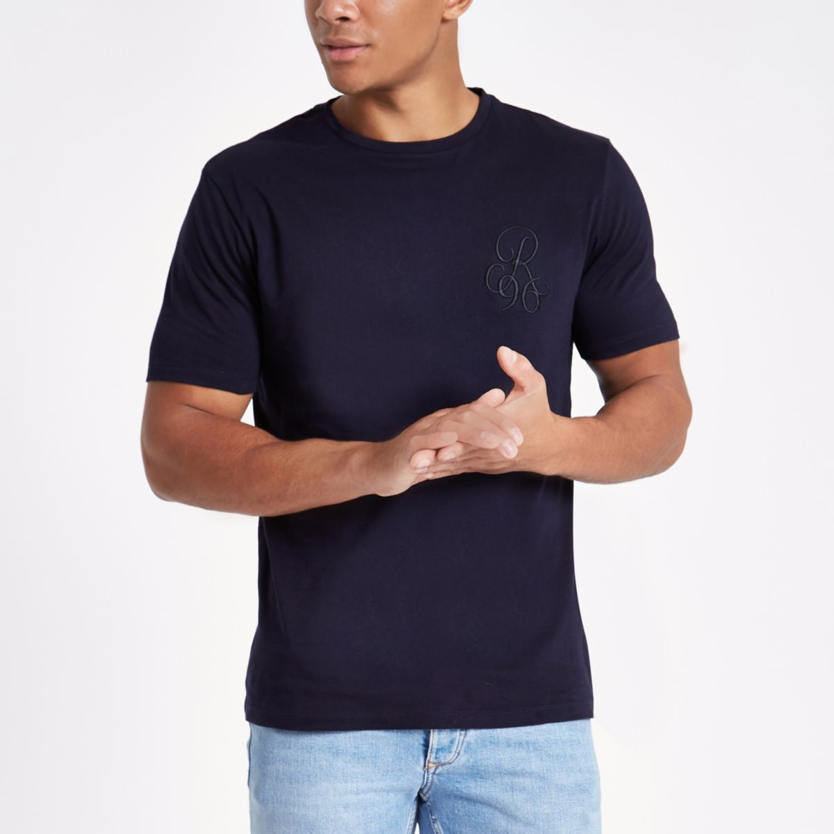 Navy embroidered slim fit crew neck T-shirt