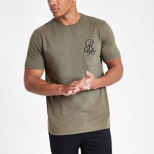 Kaki slim-fit T-shirt met borduursel op de borst