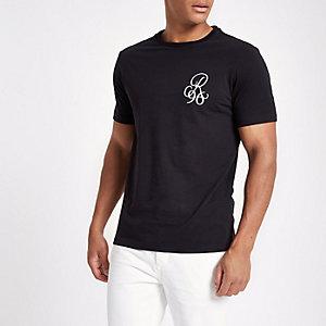 Zwart geborduurd slim-fit T-shirt met ronde hals