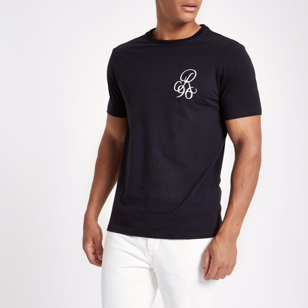 Schwarzes Slim Fit T-Shirt mit Rundhalsausschnitt