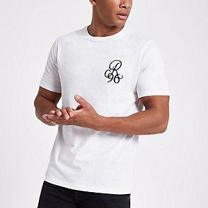 T-shirt slim ras-du-cou blanc brodé