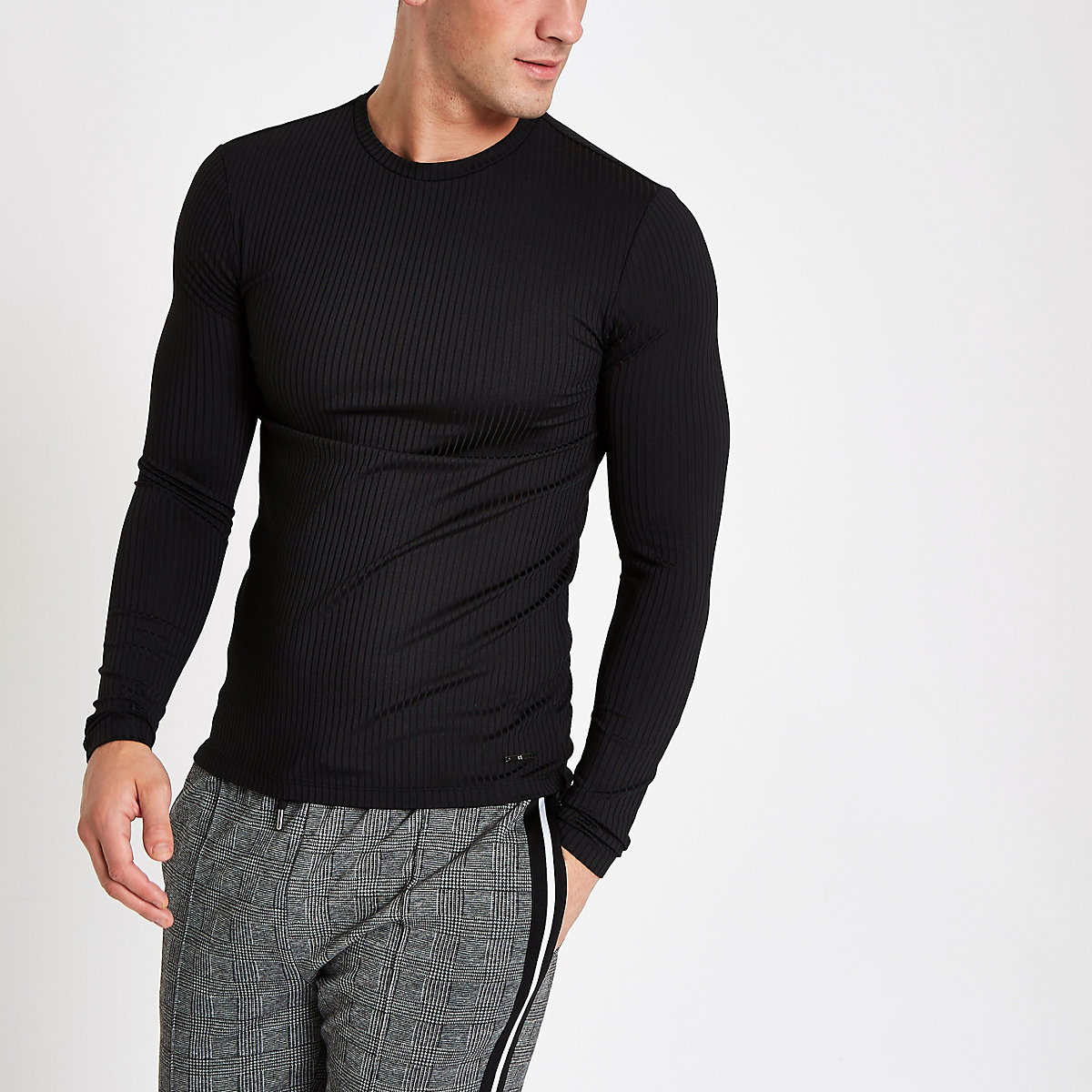 Black ribbed crew neck long sleeve top