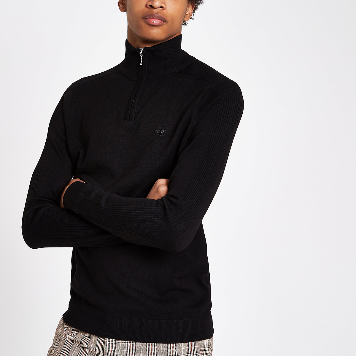 Black slim fit zip funnel neck sweater