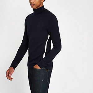 Marineblauwe gebreide slim-fit pullover met col