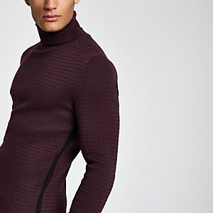 Red knit slim fit roll neck jumper