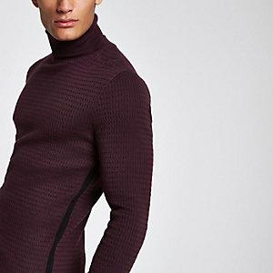 Rode gebreide slim-fit pullover met col