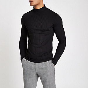 Black ribbed muscle fit turtle neck jumper