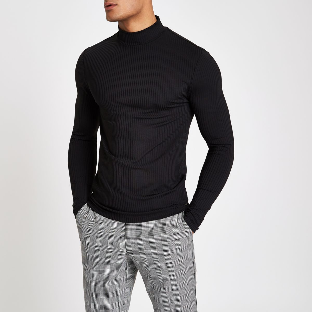 Black ribbed muscle fit turtle neck sweater