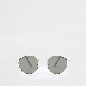 Goldfarbene, runde Sonnenbrille