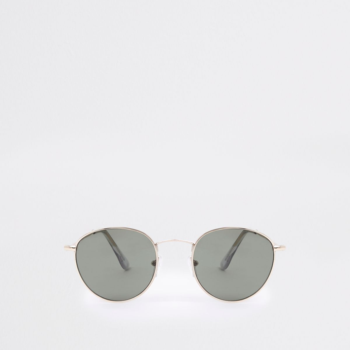 Gold tone round grey lens sunglasses