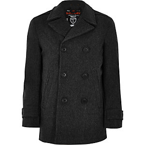Superdry grey wool blend pea coat