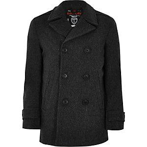 Superdry grey wool blend pea coat