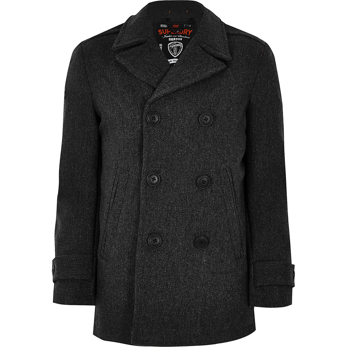 Superdry grey wool blend peacoat