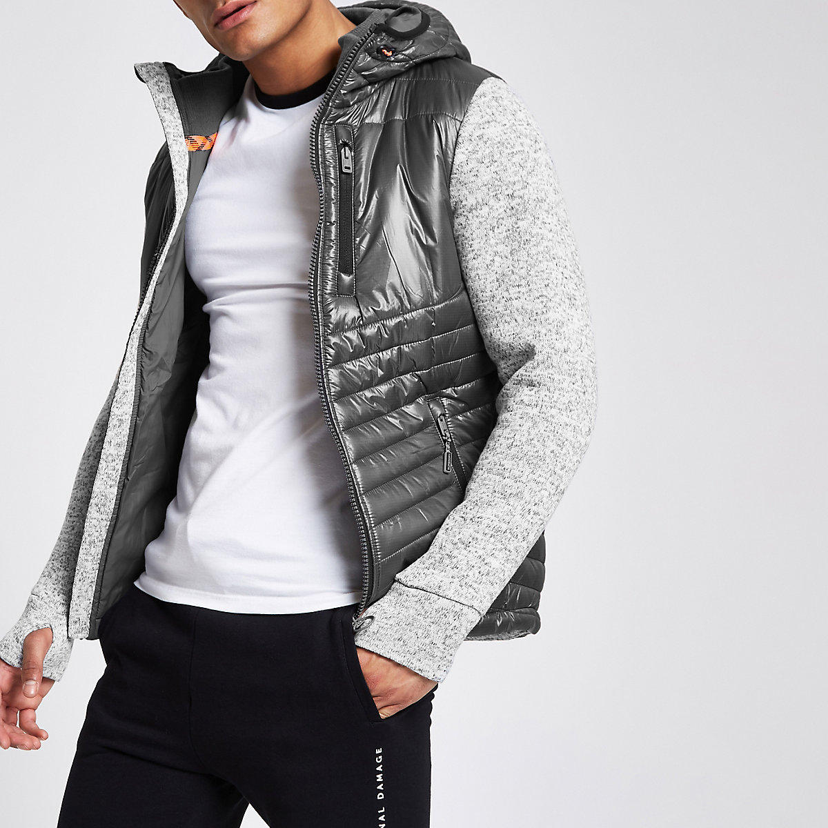 Superdry black Storm Hybrid hooded jacket
