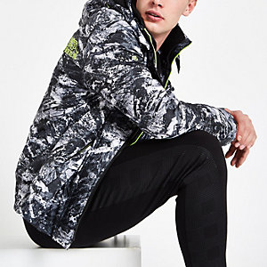 Superdry black camo funnel neck coat