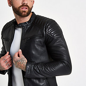 Superdry black leather racer jacket