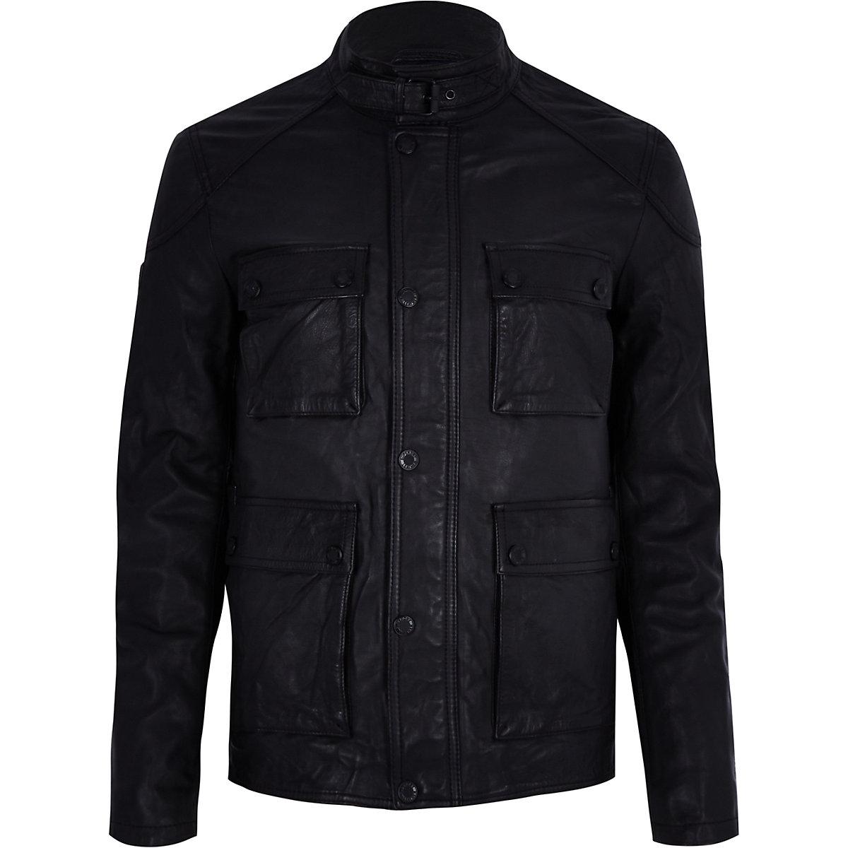 Superdry black leather pocket jacket