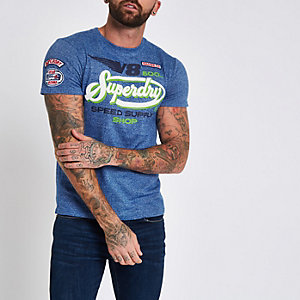 Superdry blue 'V8' T-shirt