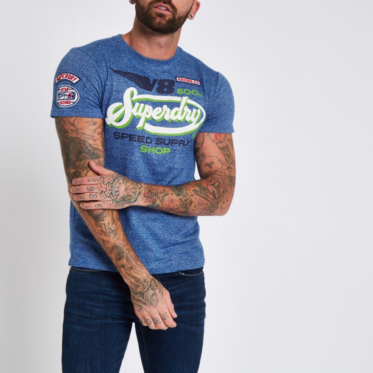 Superdry blue 'V8' T-shirt