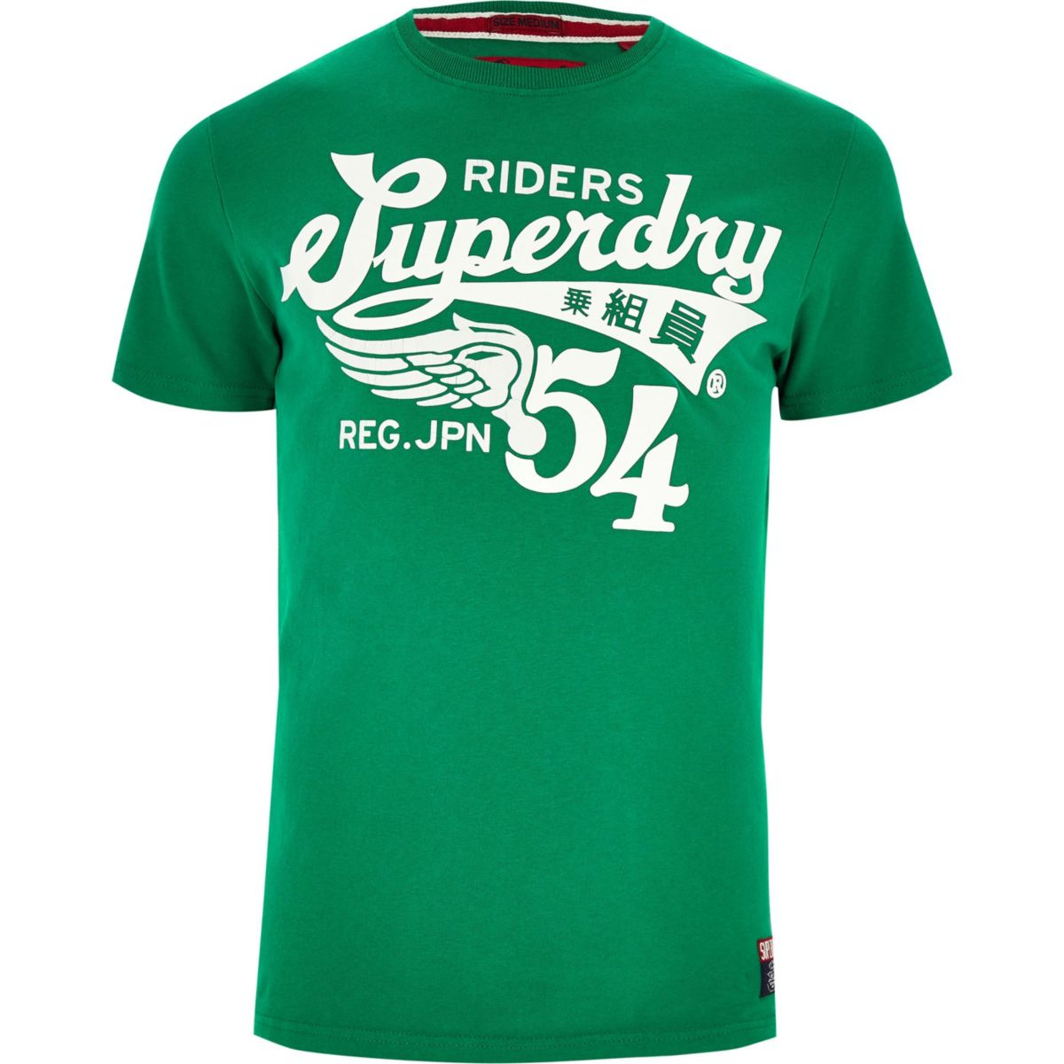 shirt crew logo T Superdry print green neck q7TxPSw
