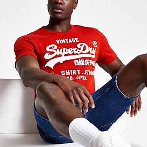 Superdry – Oranges T-Shirt mit Rundhalsausschnitt