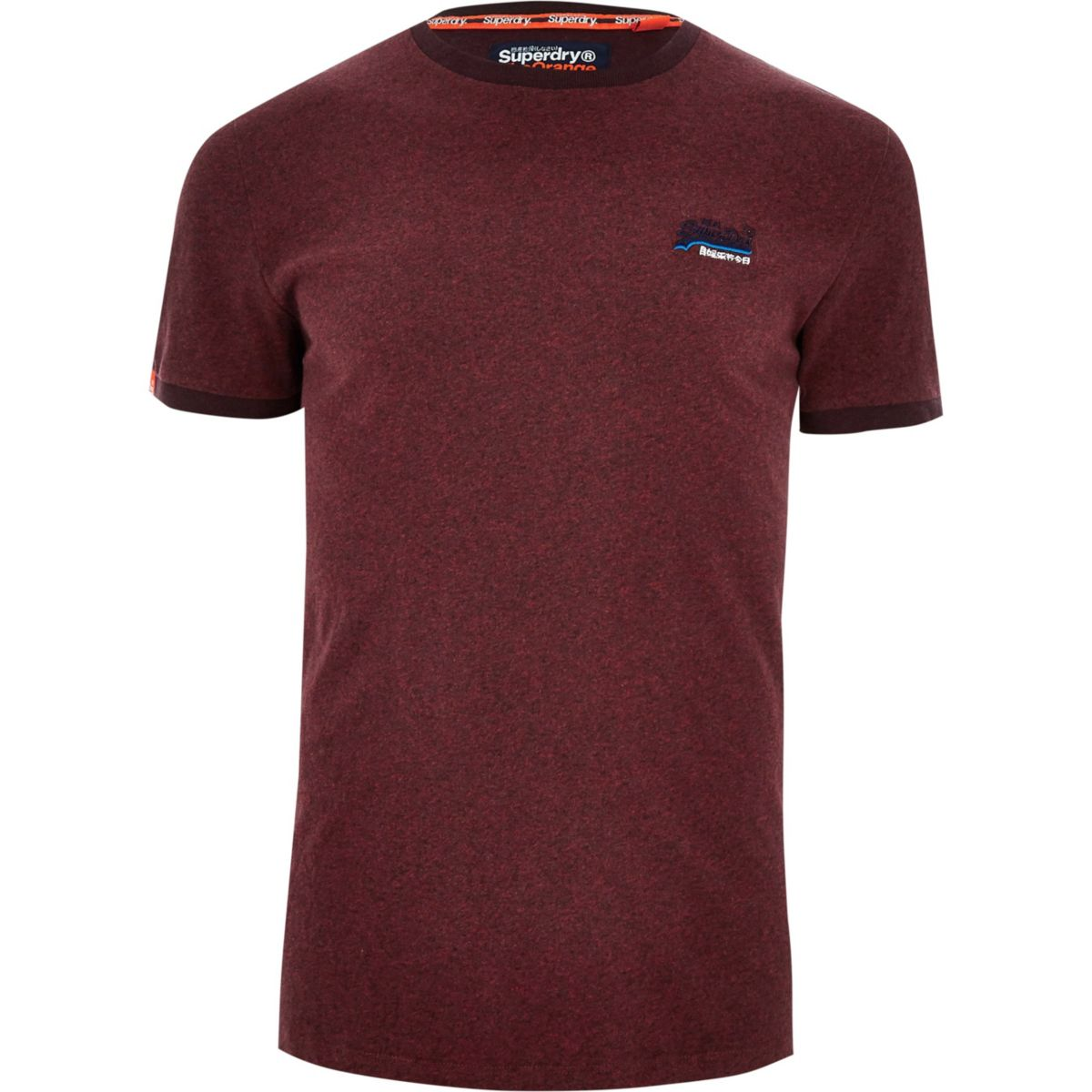 shirt crew burgundy Superdry neck T SZwn8