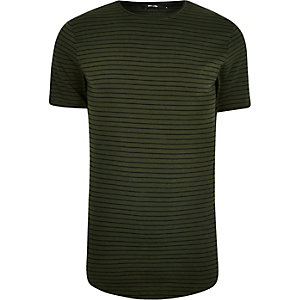 Big and Tall - Only & Sons - Groen gestreept T-shirt