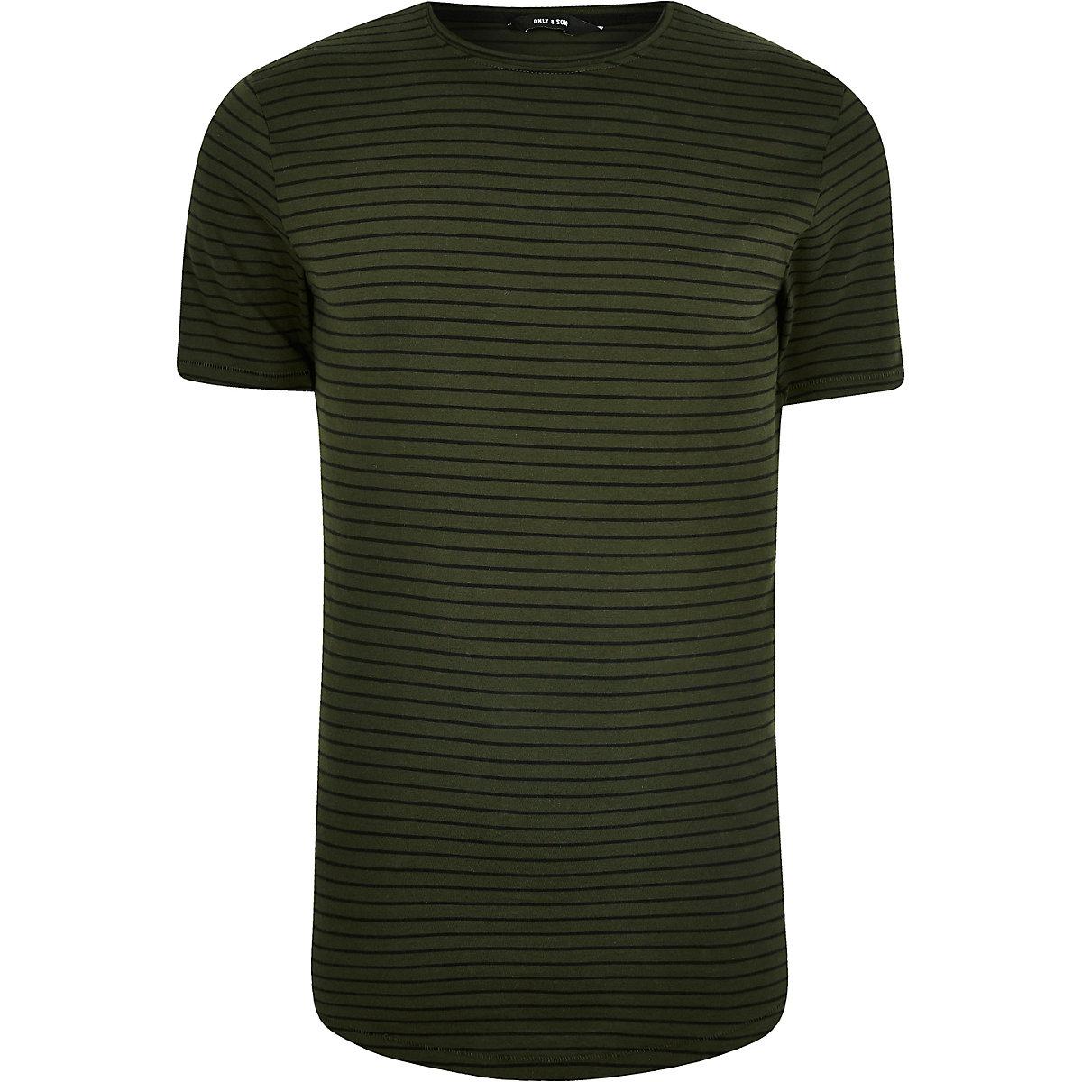 Big and Tall – Only & Sons – T-shirt rayé vert