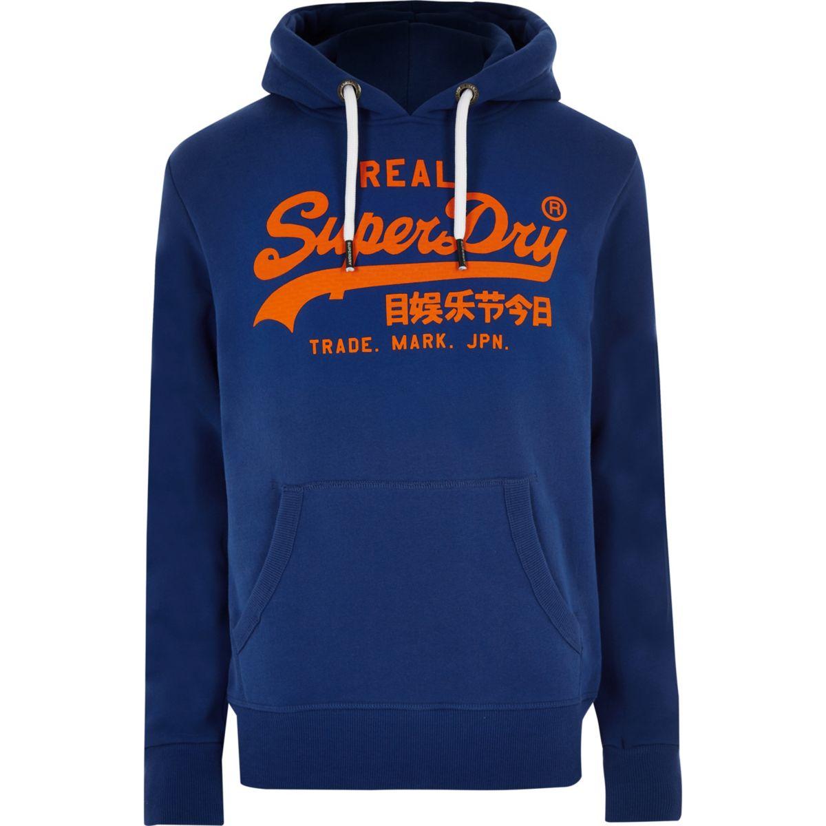 Superdry blue vintage logo print hoodie