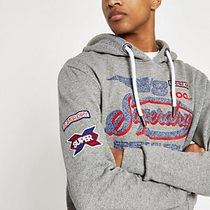 Superdry – Sweat à capuche gris à logo