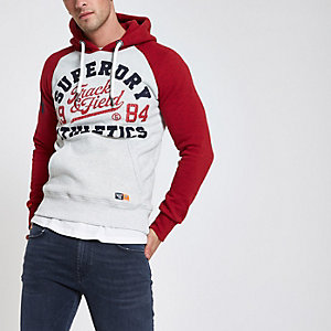Superdry – Roter Hoodie mit Vintage-Logo