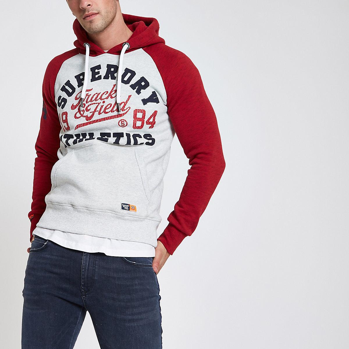 Superdry red raglan vintage logo print hoodie